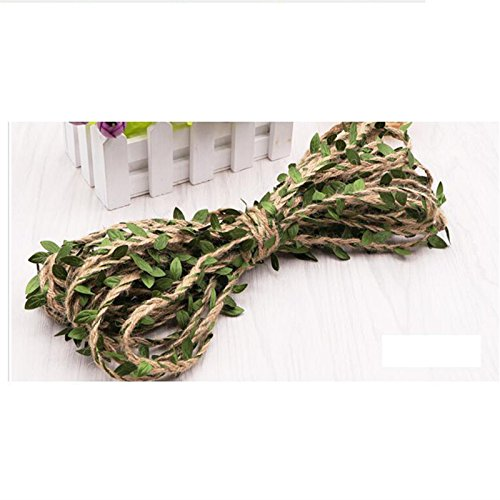 Autumn Water Leaf Natural Hessian Jute Twine Rope Burlap Ribbon DIY Craft Vintage Home Wedding Party Decoration -
