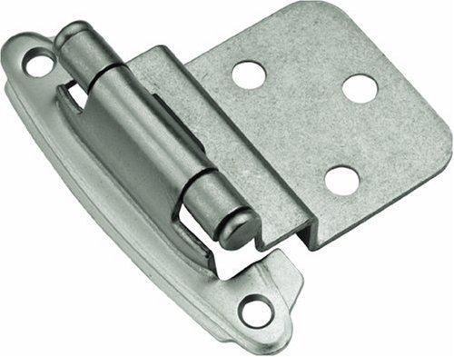 Hickory Hardware P243-SN 3/8-Inch Offset Surface Self-Closing Hinge, Satin Nickel -