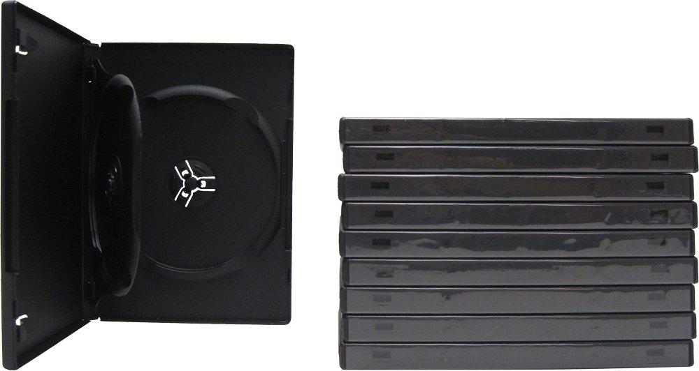 SquareDealOnline - DV2R14BKWT - Standard 14mm DVD Cases - 2 Disc Capacity - Black - (10 Pack)