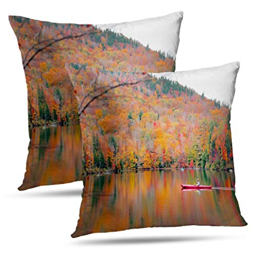 Coeny Red-Maple-Tree Decorative Pillow Covers,Set of 2 18x18 Inch Cushion Cover, Beautiful Fall Landscape Cotton and Ployster Blend Pillow Cases for Sofa Bed Home Car,Beautiful Fall (Best Places To See Fall Foliage New England)