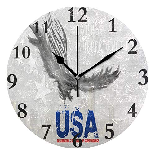 Ladninag Wall Clock Marvellous Independence Day Wallpaper Silent Non Ticking Decorative Round Digital Clocks Indoor Outdoor Kitchen Bedroom Living Room ()