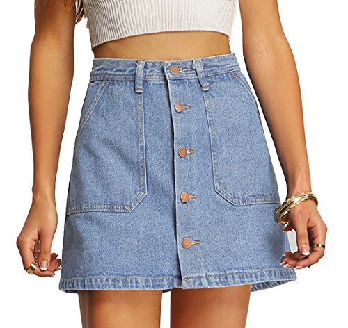 SheIn Women's Button Front Denim A-Line Short Skirt - Light Blue Medium