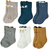 Zaples Unisex Baby Socks Soft Thick Cotton Infant Toddler Grow Warm Crew Socks 3/6 Pair Pack (Cartoon 6 Pk, XS 3-12 Months)
