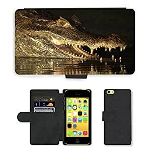 Hot Style Cell Phone Card Slot PU Leather Wallet Case // M00111131 Crocodile Venezuela Llanos // Apple iPhone 5C