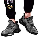 ★QueenBB★ Mens Sneakers Ultra Lightweight Breathable Mesh Street Sport Walking Running Gym Shoes Knit Shoes Gray