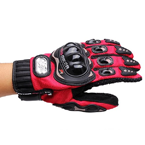 Jing Full Finger Mountain Bike Motorcycle Riding Skiing Racing Gloves for Pro-biker Cycling Gloves (Red, M)