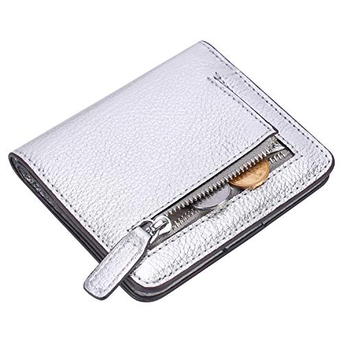 Lavemi RFID Blocking Small Compact Mini Bifold Credit Card Holder Leather Pocket Wallets for Women(Pebbled Silver)