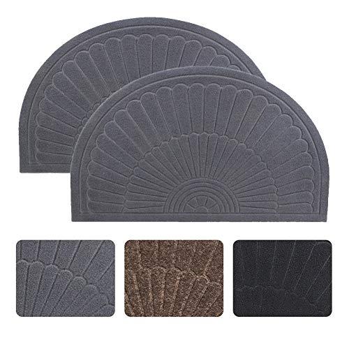 (Half Round Door Mat Entrance Rug Floor Mats Set of 2, Waterproof Floor Mat Shoes Scraper Doormat, 18''x30'' Patio Rug Dirt Debris Mud Trapper Out Door Mat Low Profile Washable Carpet (Gray-2 Pack))