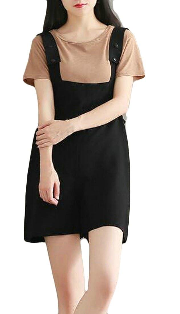 Etecredpow Women Romper Pure Color Juniors Summer Slim Wide Leg Shorts Overalls