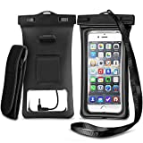 Waterproof Phone Pouch Floating Universal Cellphone Case Dry Bag with Armband and Audio Jack for iPhone X,8,8plus,6s,Samsung Galaxy s9,s8,s7,Note 8,Google Pixel XL (Black 2 pack)