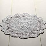 "16"" White Round Cotton Hand Crocheted Lace Doilies, Set of 2"