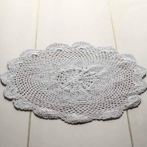 """16"""" White Round Cotton Hand Crocheted Lace Doilies, Set of 2"""