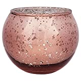 Just Artifacts Bulk Round Mercury Glass Votive Candle Holders 2'' H Speckled Marsala (Set of 200)