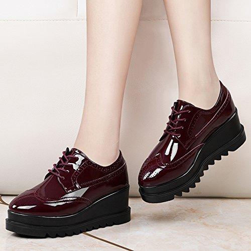 KPHY-Frühjahr Damenschuh Lässige Schuhe Mit Koreanischen Gezeiten Studenten Plattform Plattform Plattform Schuhe Schuhe Schuhe 37 Bordeaux Wein ccdf79