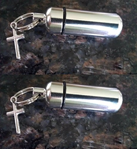 SET of TWO - Simple Cross Personal Anointing Oil Holders / Vial with Velvet Pouches