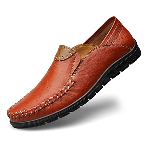 Zapatos de Yellow Cuero Zapatos Zapatos para Perezoso Un Pedal Trabajo Vestir Zapatos de Hombre de qHqBTwrg