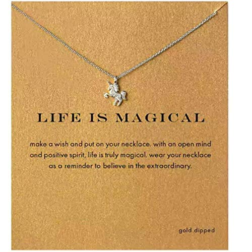 (LOSOUL Friendship Clover Necklace Unicorn Good Luck Cross Necklace with Message Card Gift Card)