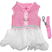 Didog Elegant Mesh Pet Skirts Harness Dress Leash Set for Puppy Small Dogs and Cats,Dog Cat Dresses for Holiday Daily Walking,Pink L Size