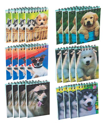 Spiral Notepad - 24-Pack Top Spiral Notebooks, Bulk Mini Spiral Notepads for Note Taking, To-do Lists, Kids Party Favors, Lined Paper, 6 Puppy Dog 3D Cover Designs, 2.75 x 4.25 Inches
