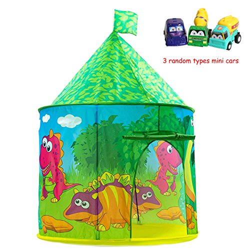 Dinosaur Castle Tent Pop-up Castle Pretend Playhouse for Kids Indoor and Outdoor Fun ,Easy to Folding back with Storage Carry Bag