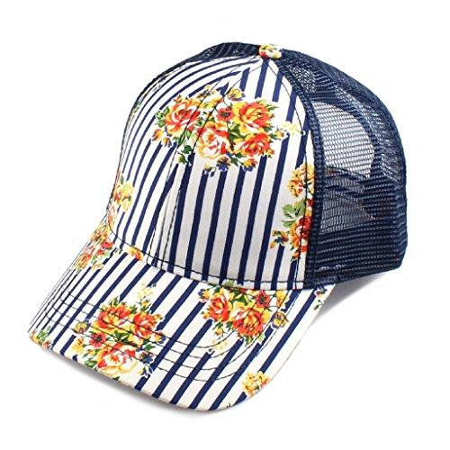 H-6140-101031 Floral Trucker Hat - Pinstripe (Navy)