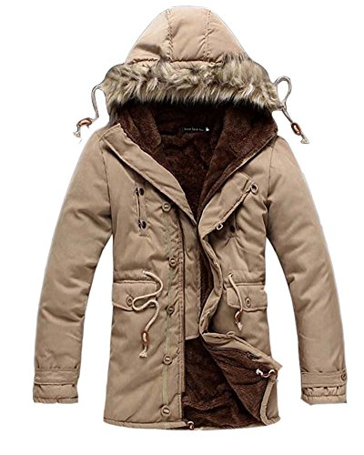 Mens Classic Hooded Military Jacket Stand Collar Hoodies Long Coat Khaki