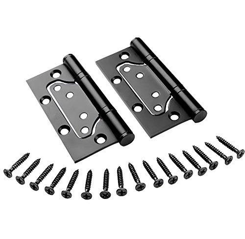 RZDEAL 3.9 x 2x 0.12 inch A Pair Stainless Steel Hinge SU304G Non-Mortise Bi-Fold Hardware for Door Mute Balls , Black