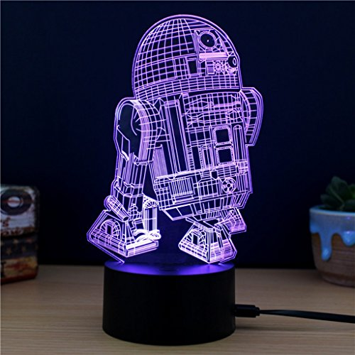 3D Lamp R2-D2 Table Night Light Force Awaken Model 7 Color Change...