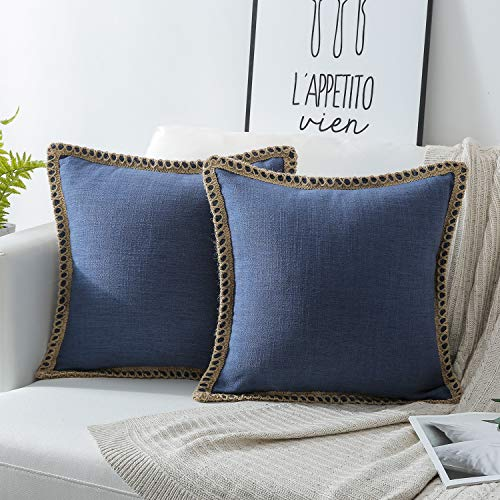 Phantoscope Pack of 2 Farmhouse Burlap Linen Trimmed Tailored Edges Throw Pillow Case Cushion Covers Navy Blue 18 x 18 inches 45 x 45 cm -