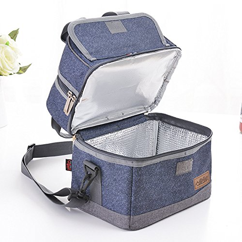 Decks Clothes (Large Lunch Bag / Denim Oxford Cloth Double Deck Separate Layer Dual  Insulated Comparement Lunch Box Thermal Food Container with Adjustable Shoulder Strap for Men Women Adults Kids)