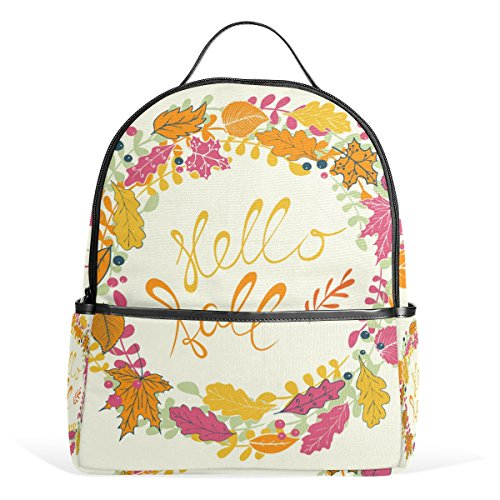 Price comparison product image My Little Nest Hello Fall Hand Autumn Leaves Garland Casual School Bag Durable Lightweight Backpack Travel Hiking Daypack for Girls Boys Teens