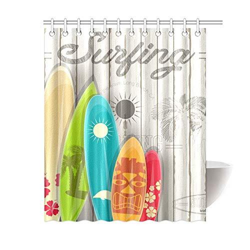 (Happy More Custom Vintage Surfing Surfboards Bathroom Waterproof Fabric Shower Curtain)