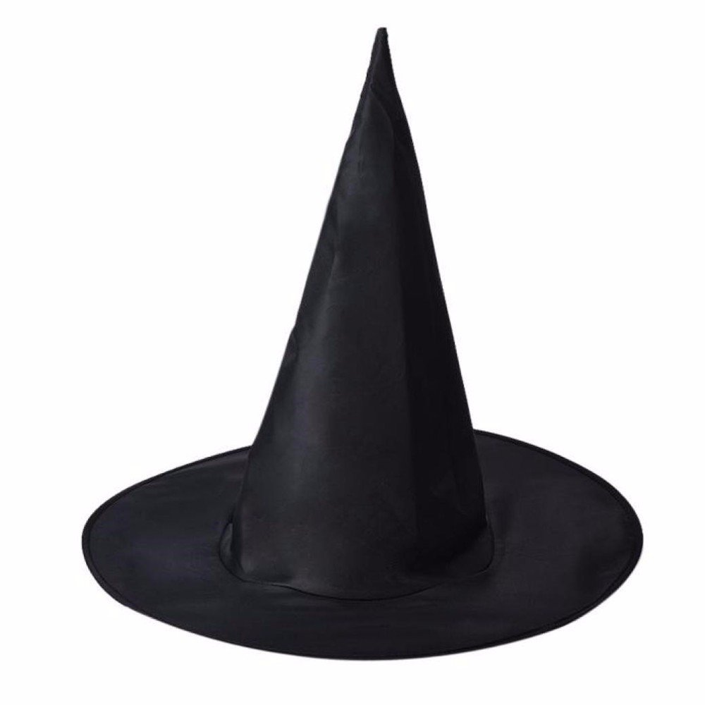 Oucan O 10PCS Womens Black Witch Hat for Halloween Costume Accessory,Cosplay Wicked Witch Accessory Adult
