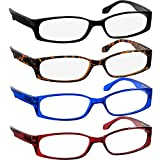Reading Glasses 1.00 Black Tortoise Red Blue (4 Pack) F503 TruVision Readers
