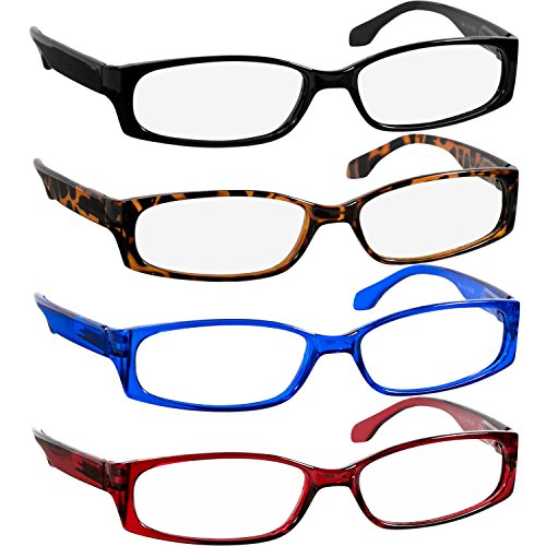 Reading Glasses 1.00 Black Tortoise Red Blue (4 Pack) F503 TruVision Readers