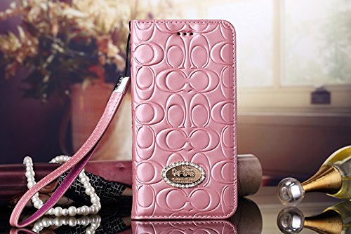 Luxury Famous Fashion New Grid Bright Leather Wallet Cash flip Wrist Rope case Cover for All iPhone 4 5 6 c SE 7 s Plus LV8 (Pink for iPhone 7 - Fashion Grid