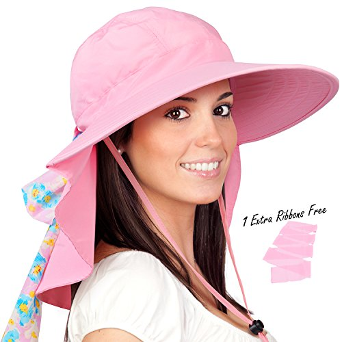 Womens Sun Hats Neck Flap Large Brim UV Protection Foldable Fishing Hiking ()