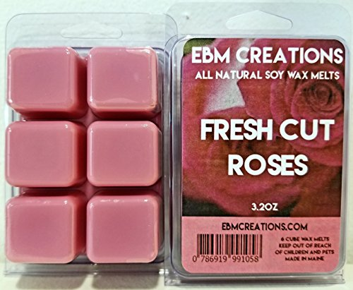 Fresh Cut Roses - Scented All Natural Soy Wax Melts - 6 Cube Clamshell 3.2oz Highly Scented! Soy Cubes