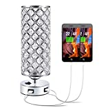 Crystal USB Bedside Lamp, Aooshine Bedside Table Lamp with Dual USB Charging Port, Elegant Modern Bedroom Lamp, Crystal Table Lamps Ideal for Bedroom, Living Room, Guest Room