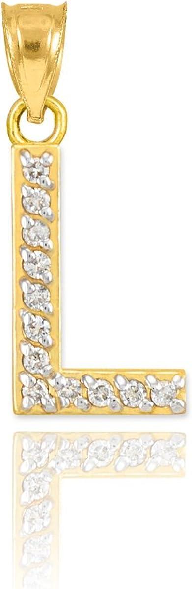 Solid 10k Yellow Gold L Script Initial Letter Alphabet Charm Pendant