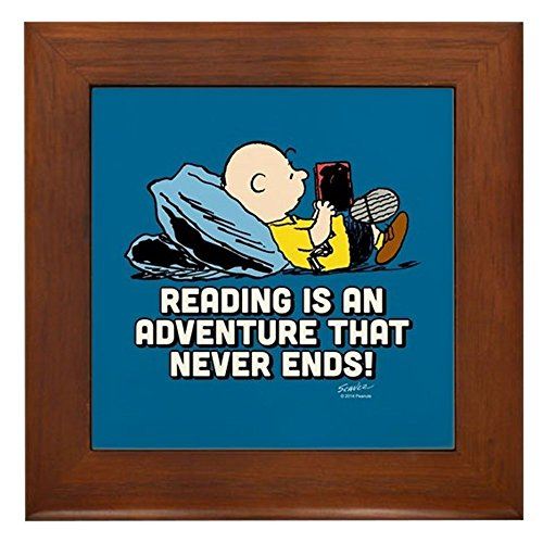 CafePress - Charlie Brown - Reading is an Adventur - Framed Tile, Decorative Tile Wall Hanging