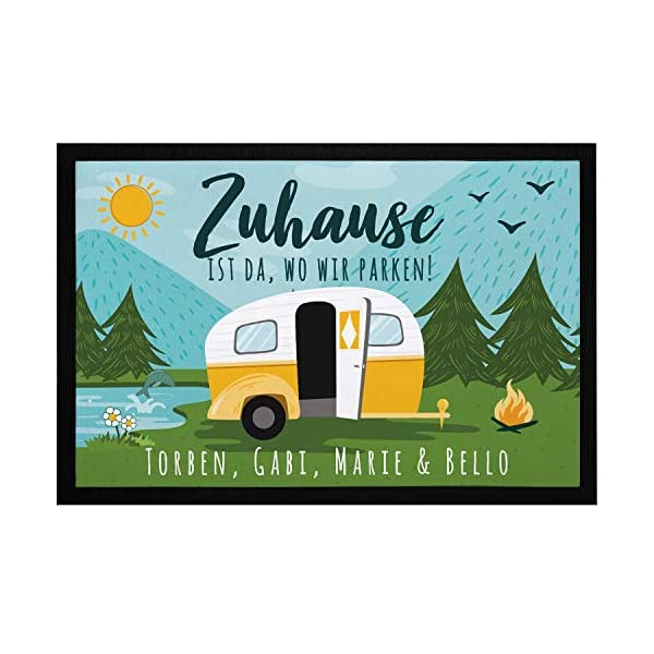 51HOfZHZirL SpecialMe Fußmatte Familie personalisiert mit Namen Zuhause ist da wo wir parken Camping Wohnwagen rutschfest & waschbar…