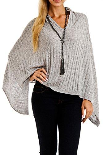 Cashmere Cable knit Poncho (Grey) by Venezia Cashmere