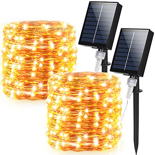 Solar String Lights Outdoor, 2 Pack 160Ft Total & 480 LED Solar Fairy Lights with 8 Lighting Modes Decoration Copper Wire Lights Waterproof for Patio Yard Tree Party