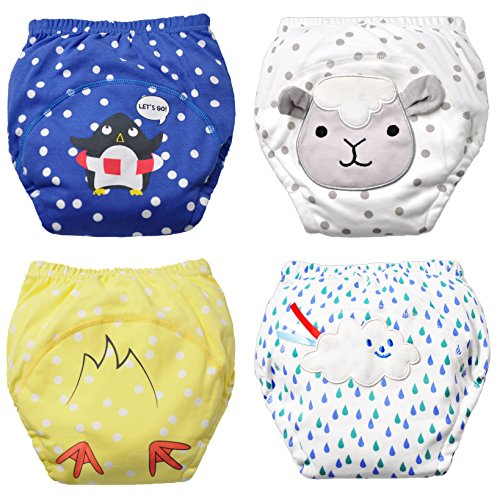 Baby Boy's Training Pants Toddler Potty Cotton Pants Cloth Diaper 4 Packs Cute Nappy Underwear for Kids Washable 3 Layers Potty Pants(Bigger Than Normal Size, Suggest to Order Down a Size)
