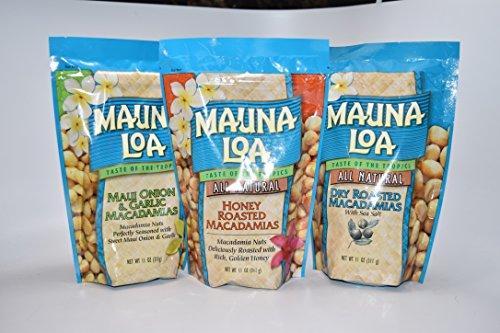 Mauna Loa Macadamia Nuts Variety Pack - Maui Onion & Garlic, Honey Roaste, Dry - Loa Honey Roasted Mauna