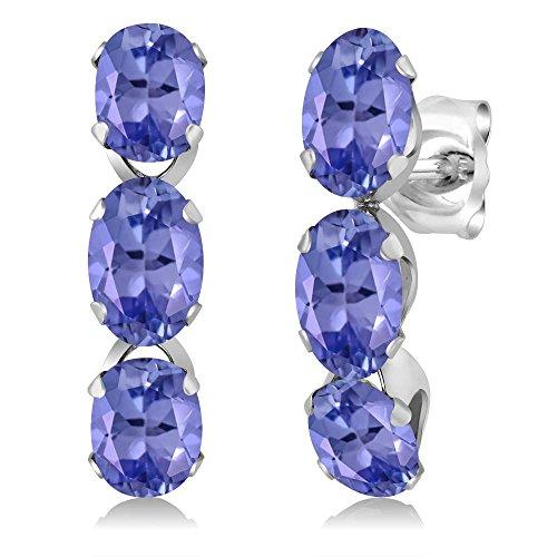 Gem Stone King 2.70 Ct Oval Blue Tanzanite 925 Sterling Silver 3-Stone Earrings