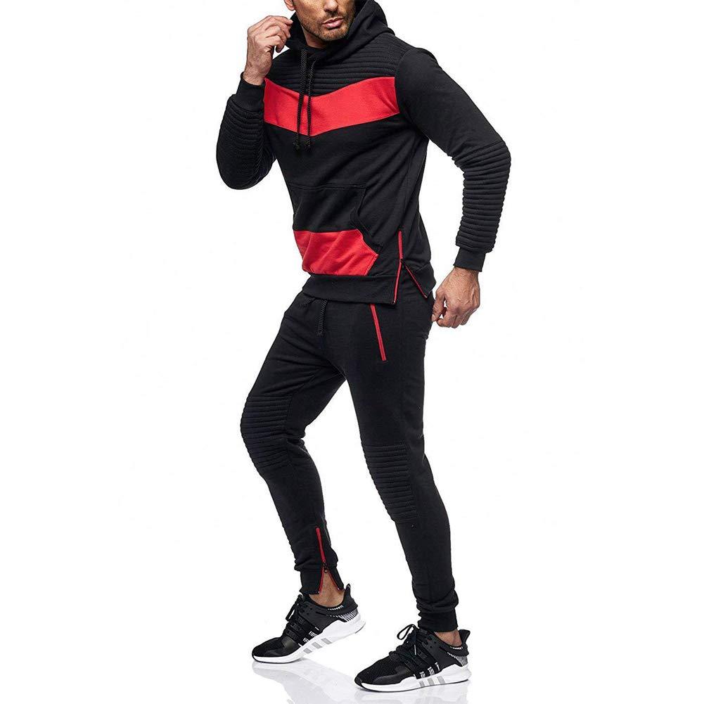 Morbuy Ch/ándal de Oto/ño Invierno Hombres Traje de Deportiva Hombres Sudadera Casual Costura Hip Hop Deportivos Manga Larga Chandal Entrenamiento Gimnasio Pantalones Conjuntos