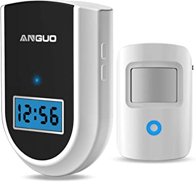 Home Security System Alarm with 1 Sensor and 1 Receiver White ANGUO Motion Sensor Alarm Wireless Driveway Alert Wireless Doorbell