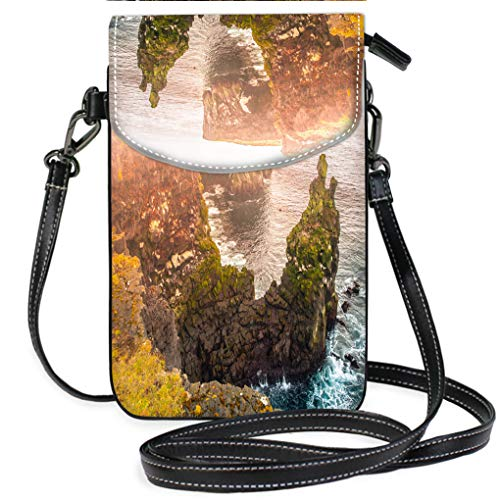 er Crossbody Bag Londrangar Rock Lava Formation in The sea Eroded Basalt Cliffs in The Wild sea at Coastline on Sneafellsnes Lightweight, Water Resistant Travel Purse for Women ()